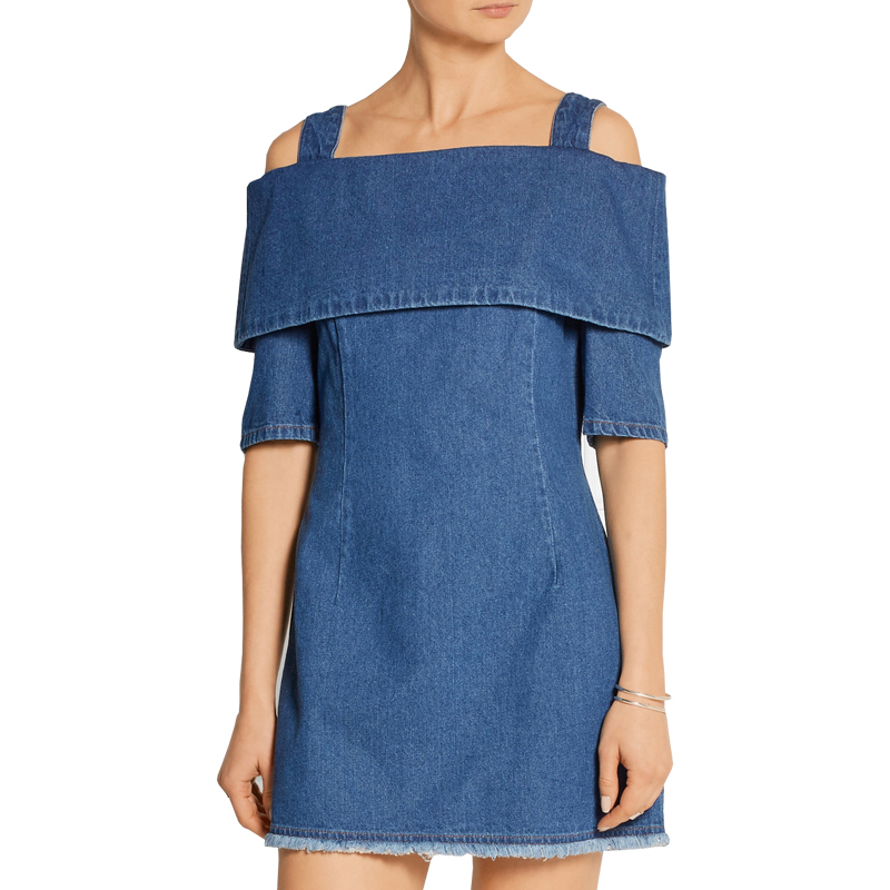 9affc31fbbd US $30.0  Sexy Off Shoulder Jean Dress Spring Summer Spaghetti Strap Back  zipper Denim Dress Ladies Casual blue Mini dresses-in Dresses from Women's  ...