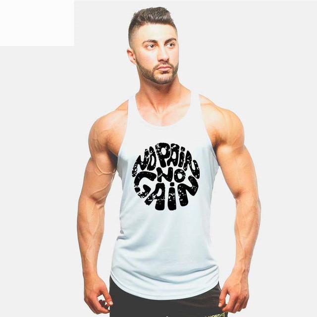 Summer fashion 100% cotton no pain no gain print men Tops casual o-neck men muscle body building Tank Tops mens Vest