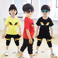 teenage boys clothes kids summer short-sleeve set child casual t shirt+pants two suit 100% cotton Monster set