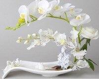 ارتفعت زهرة الأوركيد فالاينوبسيس الاصطناعي في السيراميك وعاء إناء الزفاف الجدول ديكور المنزل أبيض أخضر f313