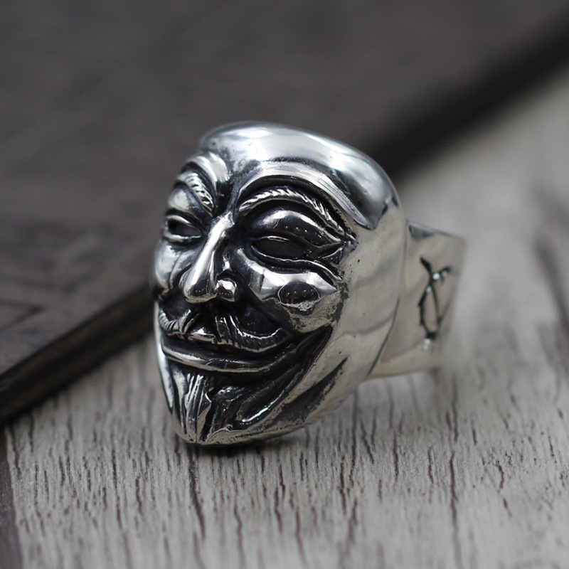 925 Sterling Silver Vintage Ring Male Models V Word Hatred Masks Mask Ring Geek Thai Silver Jewelry hatred