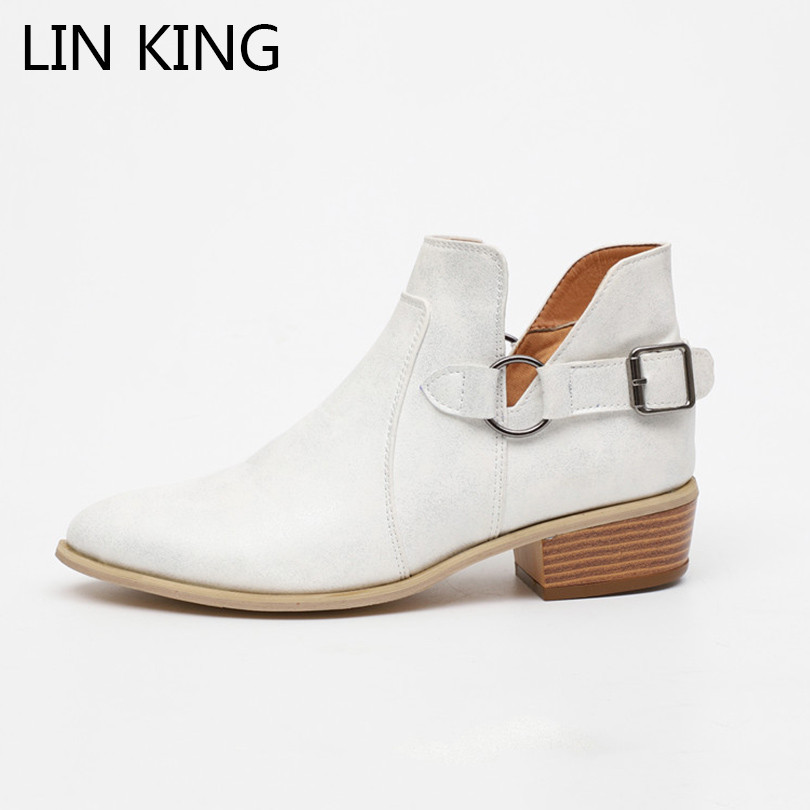 где купить LIN KING Plus Size Punk Women Western Boots Square Heel Buckle Martin Boots Pointed Toe Motorcycle Boots Short Botas For Female по лучшей цене
