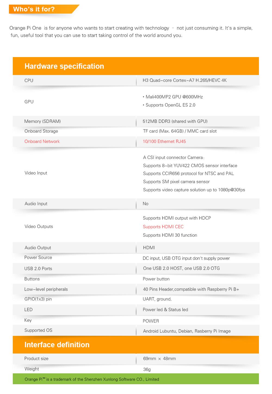 оранжевый пи один H3 четырехъядерный поддержка в Ubuntu и в Linux для Android-мини-ПК за малиновый пи 2