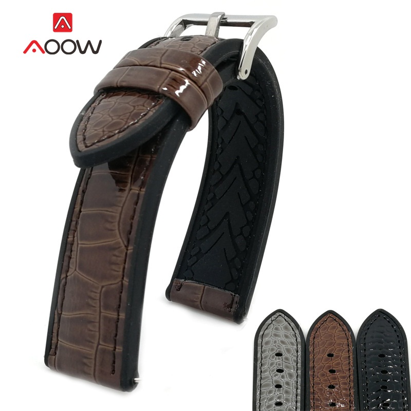 AOOW Leather Watchband Classic Fashion Crocodile Pattern Strap 20mm 22mm Silver Metal Buckle For Women Men Watchband Durable