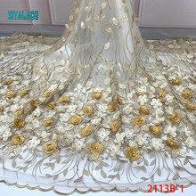 Нигерийская вышитая бисером кружевная ткань Высокое качество африканская 3D чистая Кружевная Ткань Свадебный Французский тюль кружевной материал для платья YA2113B-1
