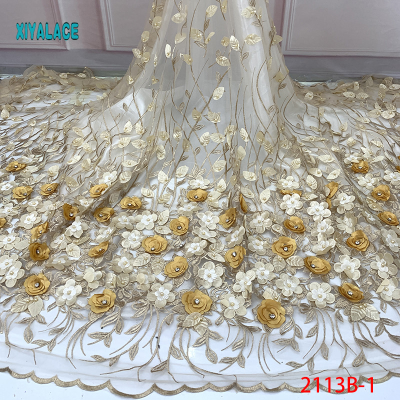 Nigerian Beaded Lace Fabric 2019 High Quality African 3D Net Lace Fabric Wedding French Tulle Lace Material For Dress YA2113B-1