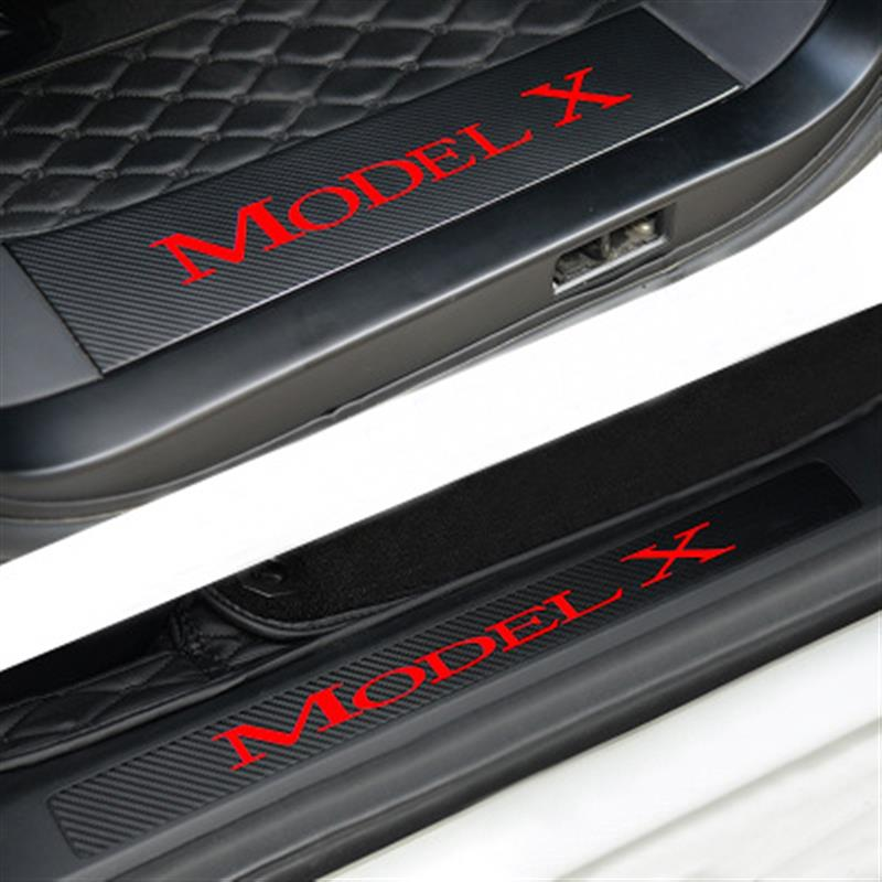 4PCS Car Door Sill Welcome Pedal Stickers Set Carbon-Fiber-Pattern Decal Car Styling Anti-Wear Protector Guard for Tesla Model X цены