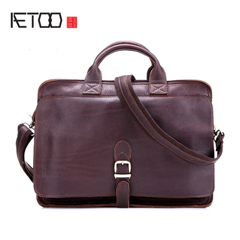 AETOO First layer of leather business briefcase men litchi pattern leather handbag high - end computer bag fitzgerald the love of the last tycoon