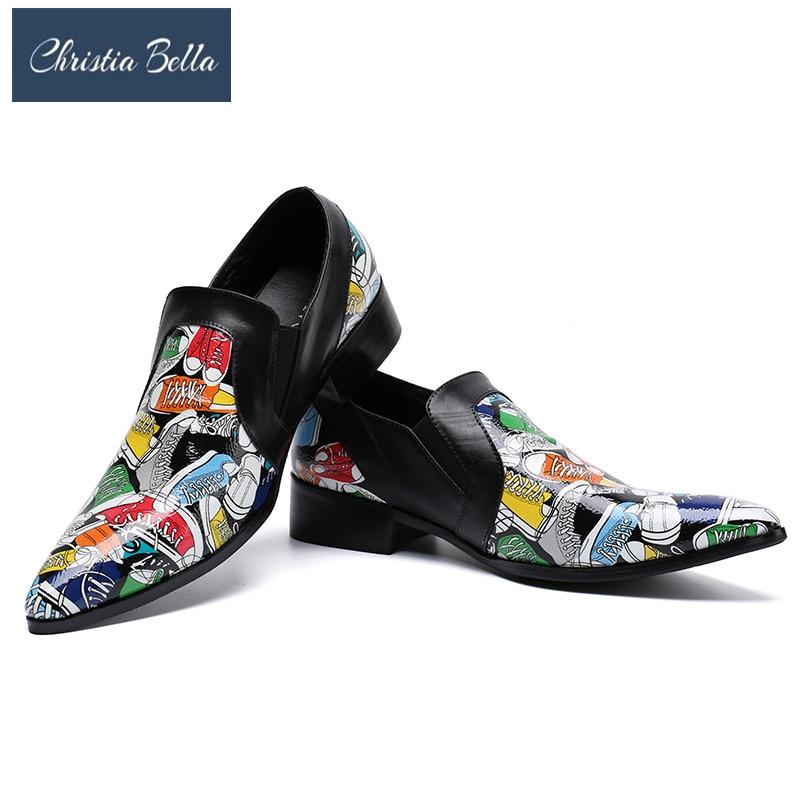 купить Christia Bella Fashion Slippers Shoes Summer Print Men Dress Shoes Genuine Leather Slip on Casual Shoes Nightclub Party Loafers по цене 6731.75 рублей