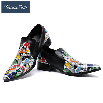 Christia Bella Fashion Slippers Shoes Summer Print Men Dress Shoes Genuine Leather Slip on Casual Shoes Nightclub Party Loafers