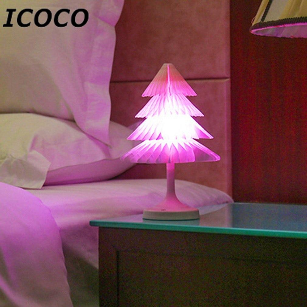 ICOCO Creative Christmas Tree LED Light Mini Colorful USB Desk Lamp Eye Care Reading Light Bedroom Bedside Lamp Night Light