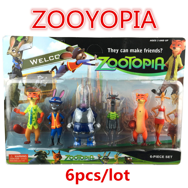 wholesale 6pcs/set 2016 New Zootopia Action figures Light-Up Toys Christmas gift Zootopia Anime Nick Fox Judy Rabbit Kids toys 2016 zootopia figures keychain ring toys doll set 2016 new cartoon animal abbit judy hopps nick fox