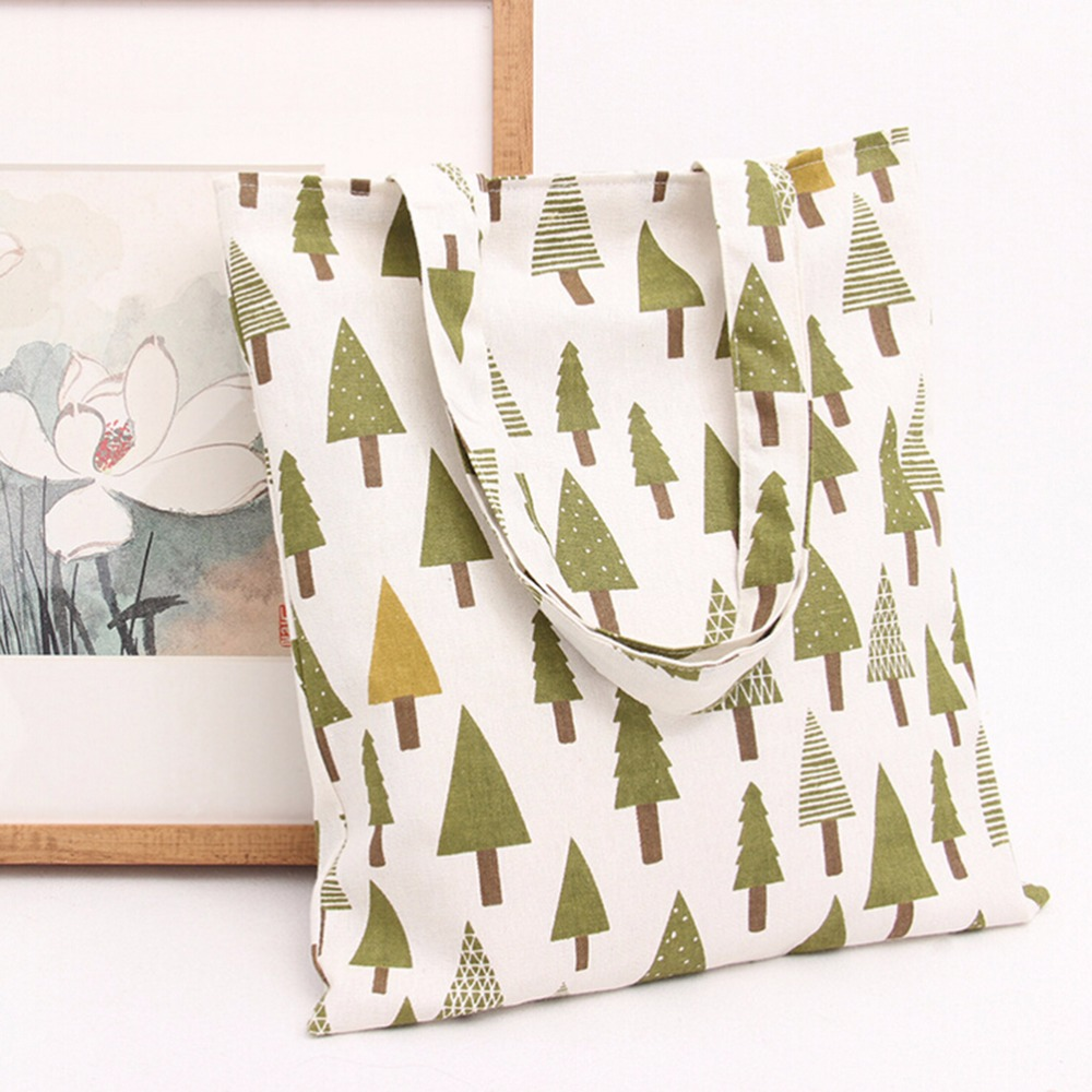 1 Stück Leinwand Umweltschutz Mom Einkaufstasche Mode Frauen Handtaschen Einkaufstasche Casual Schulter Taschen