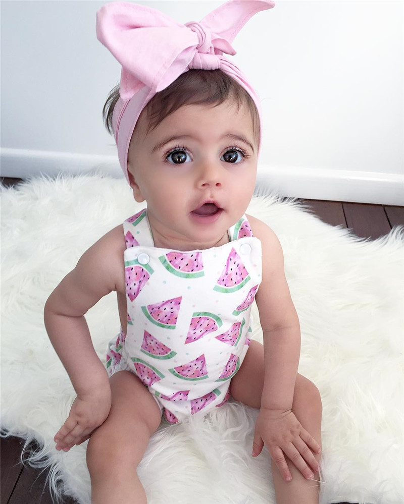 Kids Sunsuit Clothing 2017Newborn Baby Girls Tassel Romper Clothes Strawberry Sleeveless Backless Halter Jumpsuit Outfits Toddle