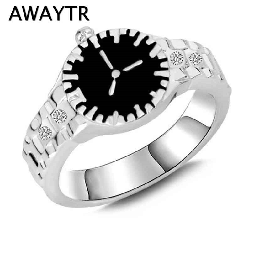 Awaytr Vintage Kristall Uhr Form Hochzeit Bands Für Jahrestag Ring Schmuck Silber Trendy Strass Männlichen/weiblichen Ring Geschenk