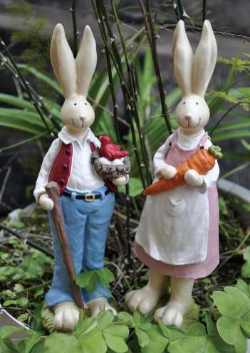 Mini Garden Bunny Family Creative Rabbits Resin Home Decor Ornaments Gift Fairy Garden Accessories Home Decoration Resin Crafts
