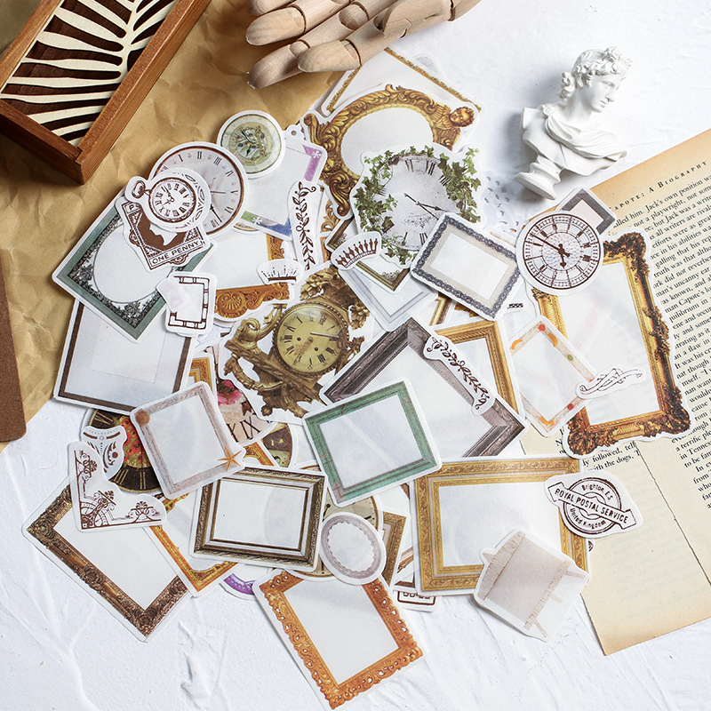 105pcs/Set Vintage Time Gold Sticker Scrapbooking Creative Diy Journal Decorative Adhesive Label Write On Stickers Stationery