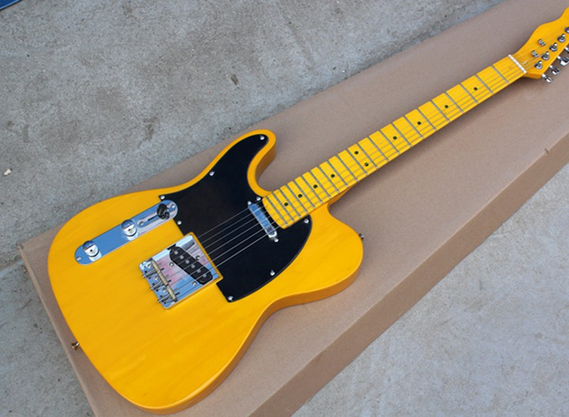 Factory Wholesale Left-hand Yellow String-thru-body Electric Guitar with Yellow Neck,Black Pickguard,Offer Customized