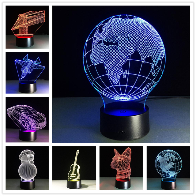 LEDMOMO New USB Novelty Gifts 7 Colors Changing Animal Snow man Led Night Lights 3D LED Desk Table Lamp as Home Decoration