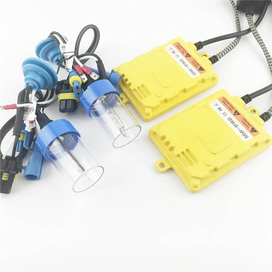 Rask Bright 55W HID Xenon frontlys lampe Konverteringssett Hurtigstart AC-forkoblinger FOR H1 H3 H4 H7 H11 H9 9005 9006 HB3 HB4 5500K
