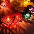 Día de san valentín luces 4 M 20 LED Rattan Bola de la estrella Del Corazón del banquete de Boda de Hadas de la Secuencia de Luces Lámpara de interior al aire libre Decoración del partido