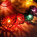 Valentine's Day lights 4M 20 LED Rattan Ball star Heart String Fairy Lights Lamp indoor outdoor party Wedding Party Decoration