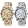 2017 Hot Venda Genebra relogio feminino 2 PACOTE de Prata e Banhado A Ouro Clássico Rodada Namorado Senhoras Relógio relógios de marca mulheres