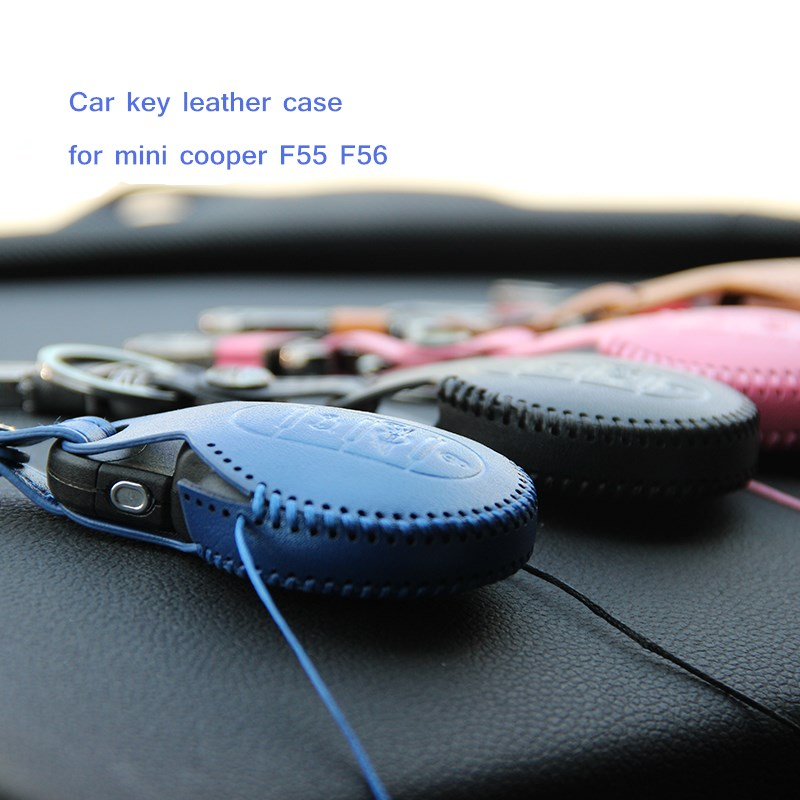 цена на car leather key case for mini cooper s f55 f56 f54 f60 key ring cover holder