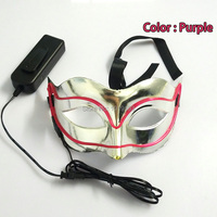1 PZ EL wire Maschere di Halloween Maschera di Volpe Verde Lampeggiante casco Fuoco Festival LED Incandescente DJ di ballo di Carnevale di illuminazione di festa maschera