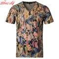 Men Printed Casual T-shirt Brand Korean Mercerized Cotton Summer Short Sleeve Plus Size M-5XL Fashion Slim Fit T shirts F2081