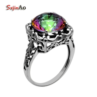 Szjinao Fashion 100% 925 Sterling Silver Jewelry Flowers Rainbow Topaz Female Wedding Ring Wholesale
