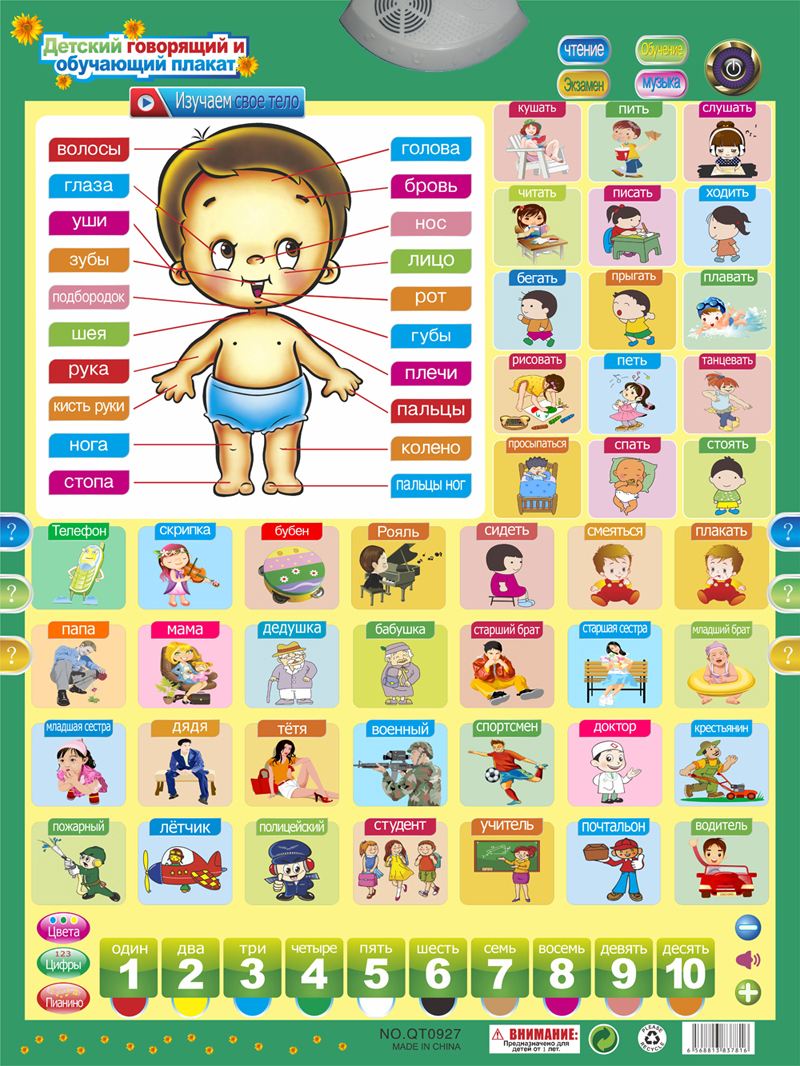 Learning Machines Amicable Qitai Russian Phonetic Talking Poster Russia Baby Language Learning Machine Kids Educational Toy Gift Phonic Wall Hanging Chart Cheap Sales