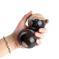 0 5KG Polished Natural Petrified Wood Sphere Balls Quartz Crystal Healthy Hand Exercise Stress Relief Ball