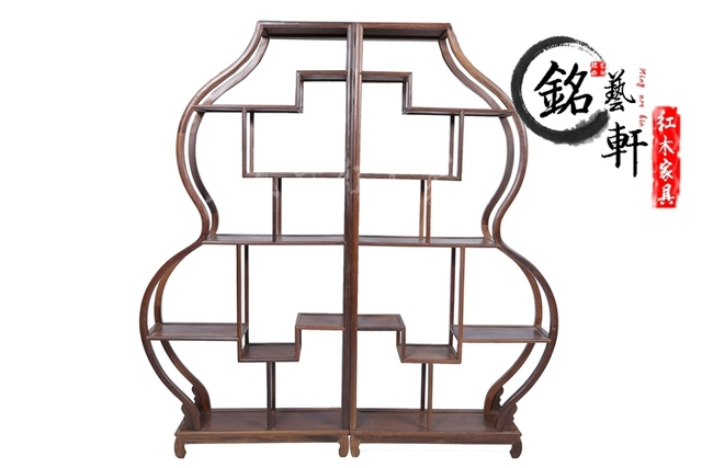 Wenge Shelf curio shelf antique mahogany furniture Shelf Chinese teapot wood frame gourd