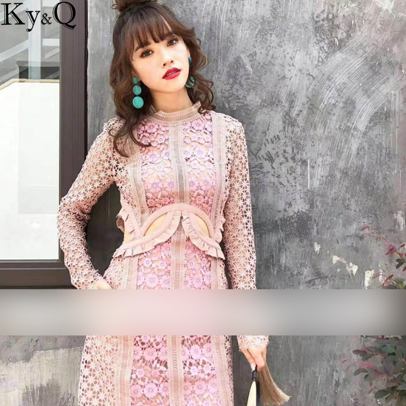 2017 Summer Dress New Women Party Dress Long Sleeve Hollow Out Hot Celebrity Cocktail Bodycon Lace Dress Pink Vestidos autumn long lace dress cut out pink blue fit and flare sleeve bodycon tunic evening party midi dress european style