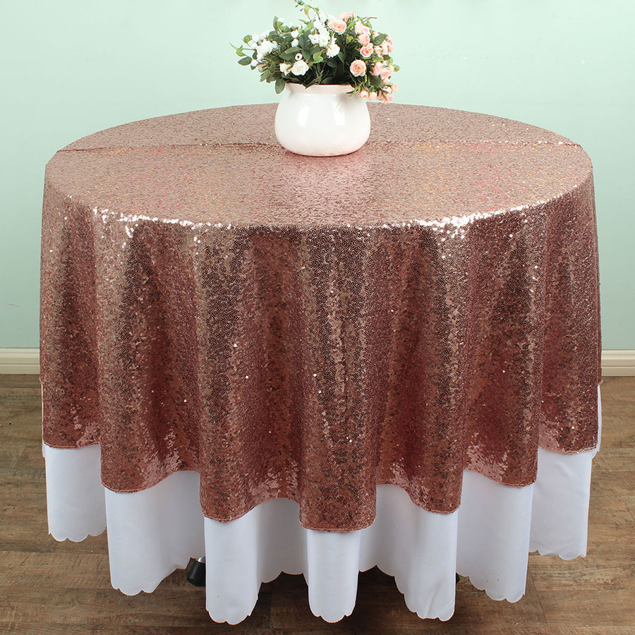 Rose Gold 180cm Round Sparkly Sequin Tablecloths Banquet Table Linens Wedding Overlay Decoration