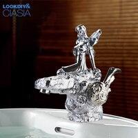 Смеситель для умывальника, хром Роскошные богиня Ванная комната кран дизайн одной колодой крепление ручки отверстия раковиной воды, смесит