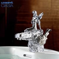 Basin Faucets Chrome Luxury Goddess Bathroom Faucet Design Single Deck Mount Handle Hole Vanity Sink Water Mixer Taps LC 67D1 X