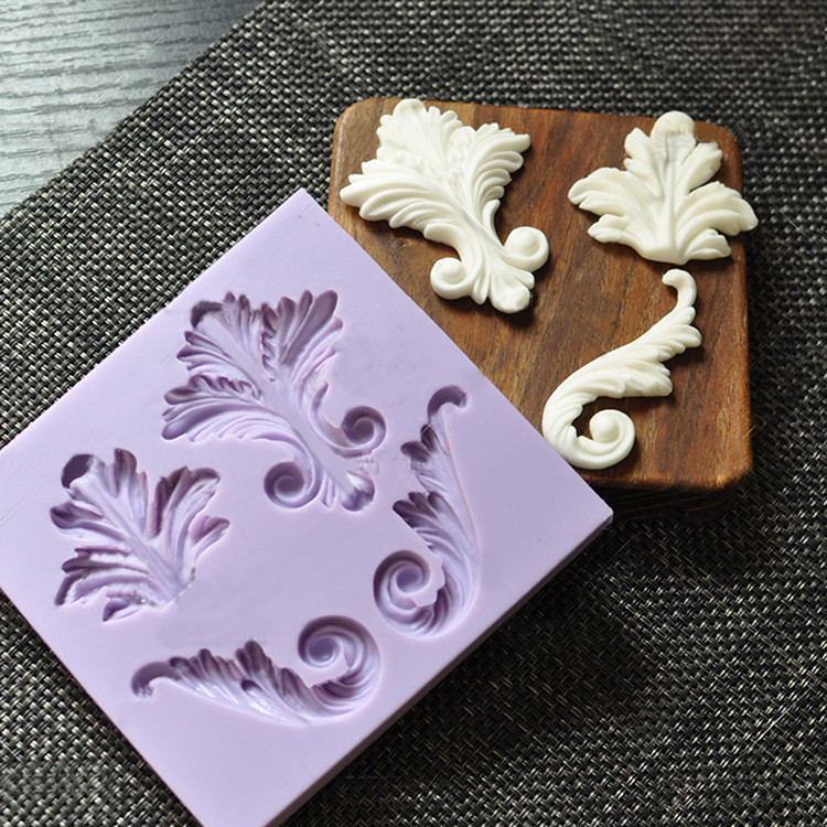 Retro Leaf Shape Silicone Mold Fondant Paste DIY Барок Стильі Силиконовый Құмыраны басады Шоколад гум пастасы үшін әшекейлі қалып