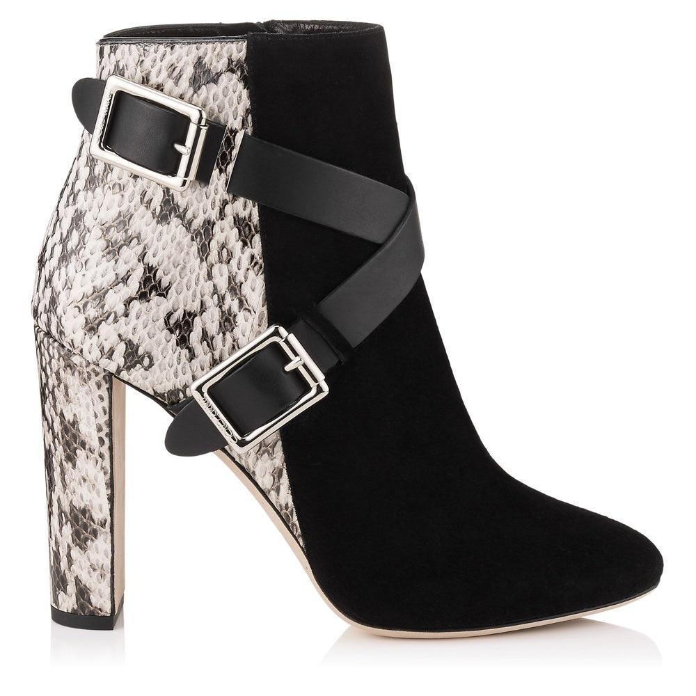 купить newest sexy women boots cross-tied Thick heel Snake ladies shoes rounf toe high heels ankle boots metal buckle autumn shoes по цене 5779.79 рублей