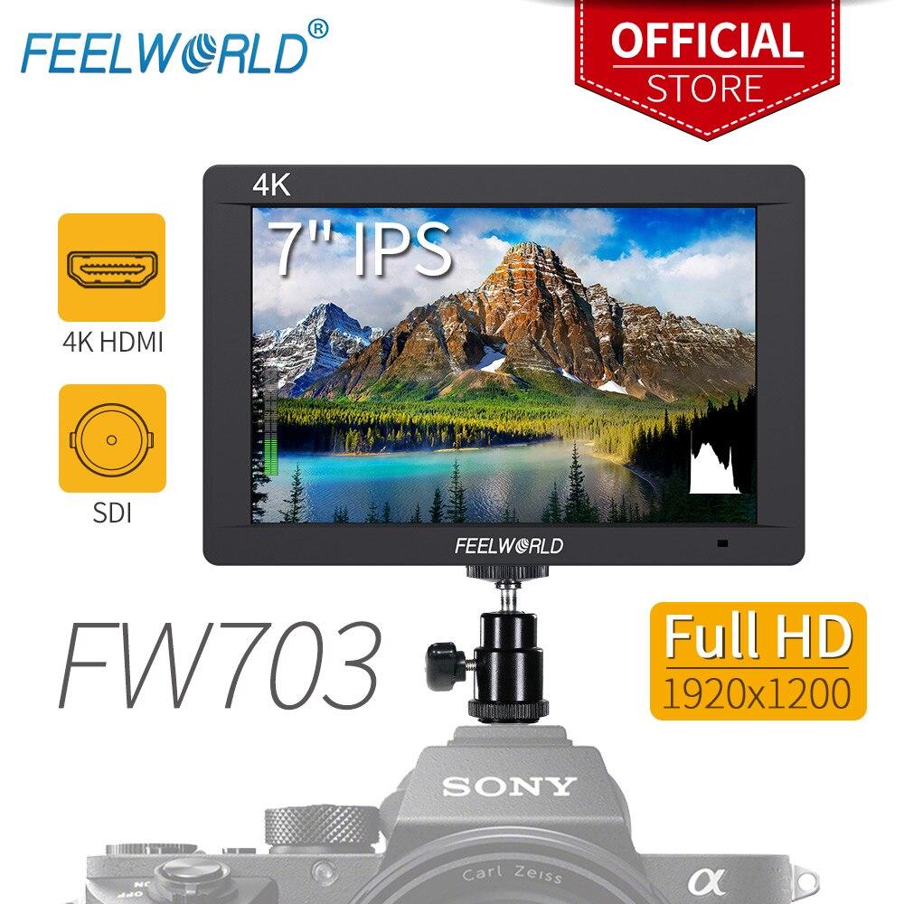 "Feelworld FW703 7 Inch 3G-SDI 4K HDMI Monitor 7"" IPS 1920x1200 Full HD Camera Field Monitor with Histogram Peaking Focus Zebra"