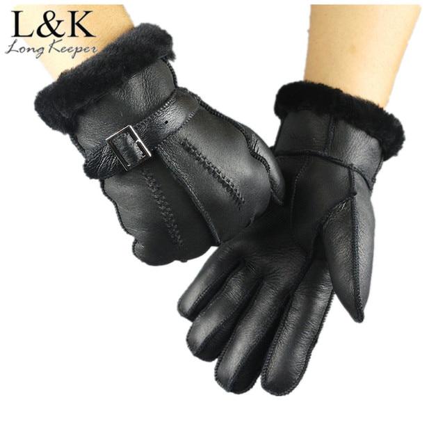 1e5360618eb68 2018 Genuine Leather Fur Winter Women Mittens 100% Sheepskin Driving  Thicken Warm Ski Gloves Water