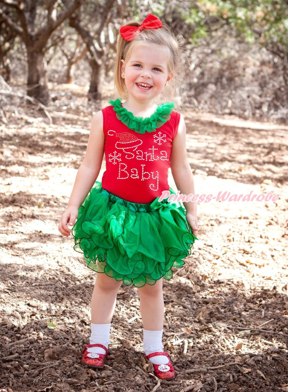 XMAS Rhinestone Santa Baby Red Top Kelly Green Petal Baby Girl Skirt Set NB-8Y MAMG1200 цены онлайн