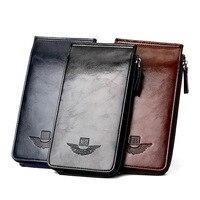 28 Card Holders New Luxury Oil Wax Leather Zipper Men Wallets Multi Card Pockets Coin Purses