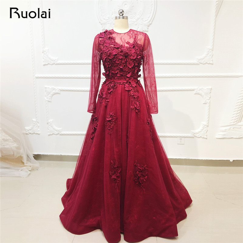 Burgundy   Evening     Dress   Long Sleeve O-Neck Lace   Evening   Gown Pearls Formal   Dress   Applique Prom   Dress   2019 Robe de Soiree SN38
