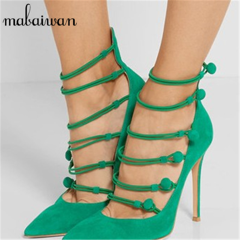 Sexy Green Women Pumps Pointed Toe High Heels Suede Wedding Dress Shoes Woman Straps Valentine Shoes Summer Gladiator Sandals new fashion woman flats spring summer women shoes top quality strappy women sandals suede pointed toe gladiator ballet pumps
