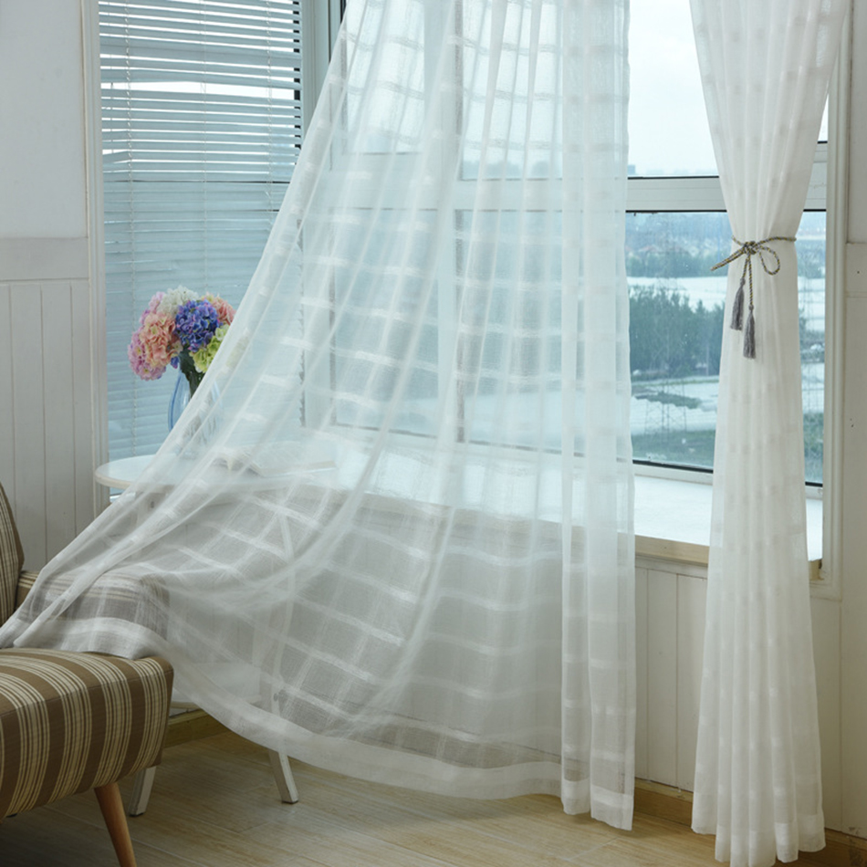 White sheer curtains bedroom - White Blinds Curtains For Living Room Short Kitchen Cortinas Geometric Curtains Fabric Drapes Linen Tulle Sheer Curtains Bedroom