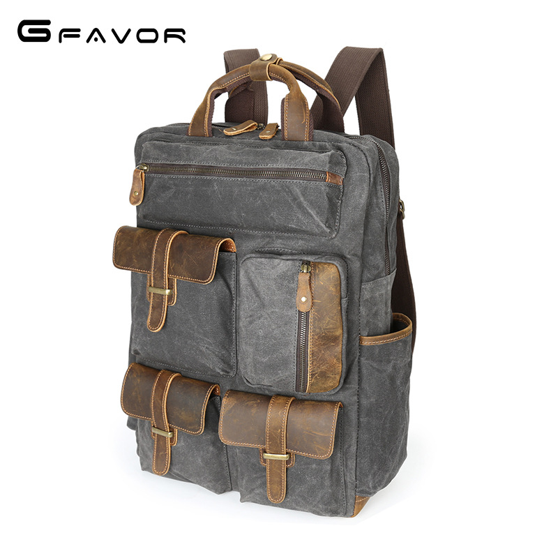 Canvas Style Leather Travel Large Capacity Backpack Male Luggage Shoulder Bag Computer Backpacking Men Functional Versatile Bags mco men s vintage canvas backpack school luggage shoulder bag computer functional hand bag large capacity travel laptop backpack