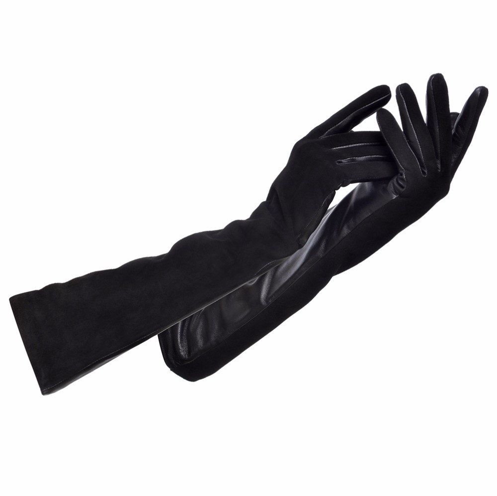 Mens nike leather gloves - Women Winter Real Leather Gloves Lady Long Genuine Sheepskin Gloves Warm Lining Winter Female Gloves Leather