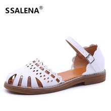 Women Cut Out Sandals Ladies Summer Platform Closed Toe Sandals Female Leather Ankle Strap Gladiator Shoes AA50284